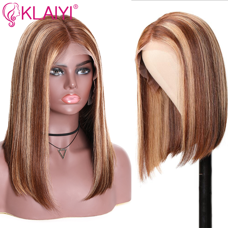 Klaiyi Hair Highlight Straight Wigs 13*4 Inch Lace Front Wigs TL412 Color Human Hair Wigs  8-12 Inch 150 Density Remy Hair