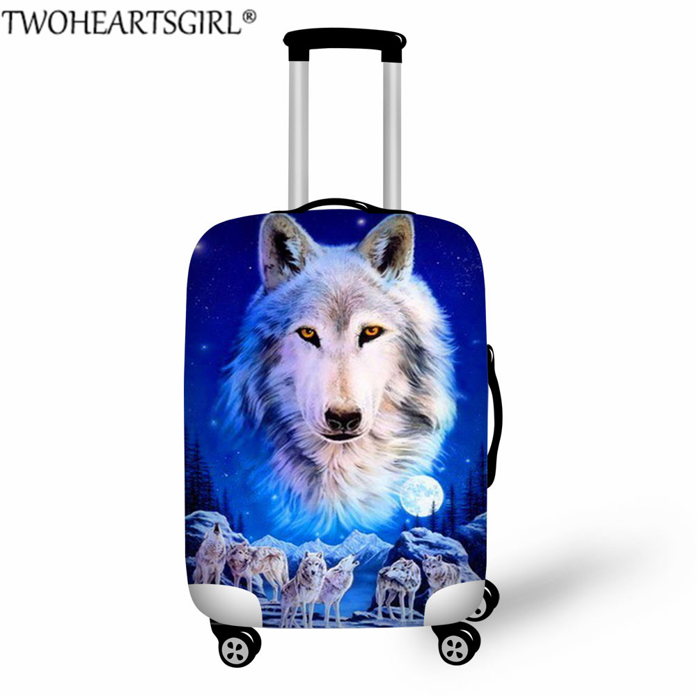 TWOHEARTSGIRL Wolf Travel Luggage Protective Cover For 18-32 Inch Trolley Cases Waterproof Elastic Suitcases Dustproof Covers