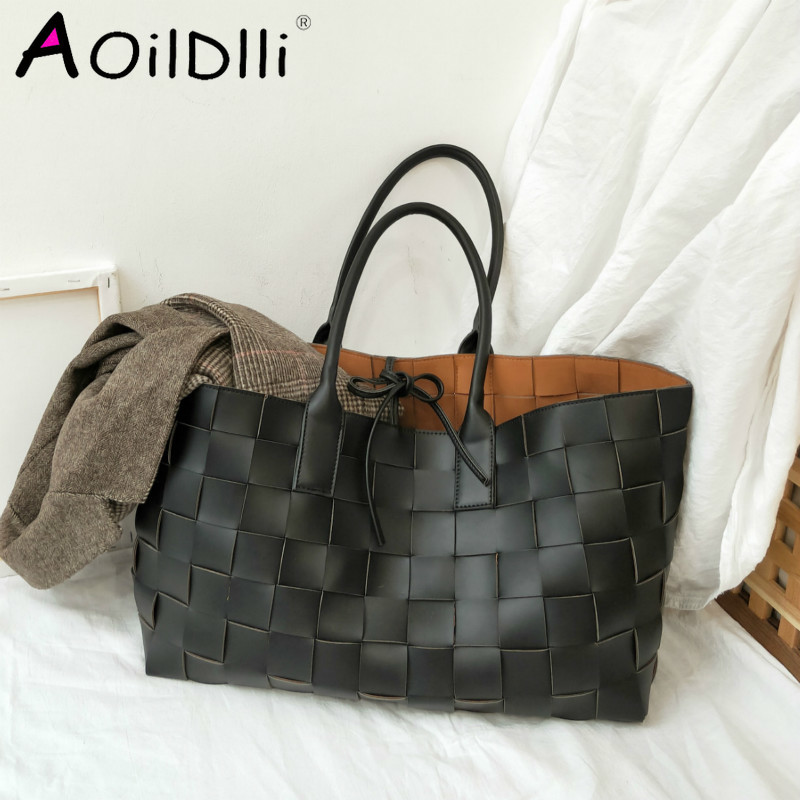 New Designer Handmade Woven Handbags Women Large Capacity Tote Shopping Bags Faux Leather Shoulder Bag Luxury Brand Big Purses