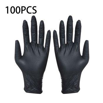 100 sztuk jednorazowe czarne rękawiczki rękawice do mycia gospodarstwa domowego nitrylowe laboratorium Nail Art medyczne tatuaż antystatyczne rękawice tanie i dobre opinie LESHP Rękawice robocze Disposable gloves S M L XL 100pcs Household Cleaning Washing Disposable Mechanic Gloves 240-250mm 9-10cm