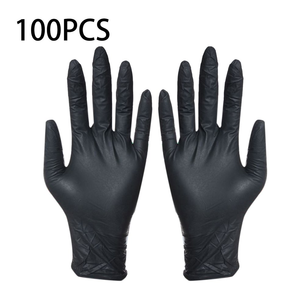 100pcs Disposable Black Gloves Household Cleaning Washing Gloves Nitrile Laboratory Nail Art  Tattoo Anti-Static Gloves