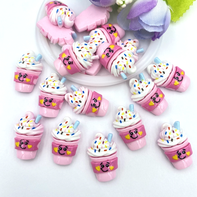 10Pcs Cute Ice Cream Resin Decoration Crafts Flatback Cabochon Scrapbook Kawaii DIY Embellishments Accessories B97