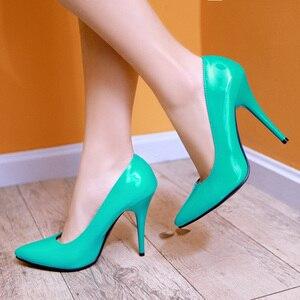 Image 4 - אופנה גבוהה עקבים משאבות אישה נעלי ירוק עירום אדום כחול נשים של נעלי מפלגה נעלי חתונת משרד גבירותיי גדול גודל 44 47