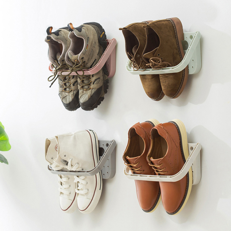 Three Dimensional and Wall Mounted Shoe Rack for Storage of Slippers High Heels and Sports Shoes
