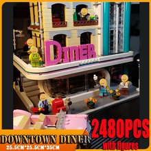 Bricks Compatible Building-Block 15037-Model Lagoingly Downtown Diner City-Street Restaurant