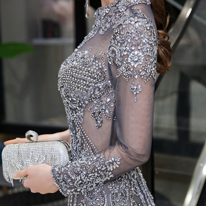 Image 5 - Dubai Luxury Mermaid Evening Dress 2020 Gorgeous Gray High Neck Beaded Beading Rhinestones Crystal Long Sleeve Formal Gown