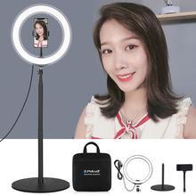 Puluz anel de luz de led para selfie, lâmpada de led para selfie de 10.2 polegadas, com grampo de celular e tripé, kits de luz de vídeo para youtube tiro de vídeo blogger