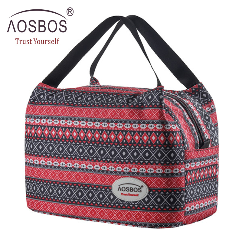 Aosbos Fashion Portable Insulated Canvas Lunch Bag 2020 Thermal Food Picnic Lunch Bags For Women Kids Men Cooler Lunch Box Bag