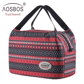 Aosbos Fashion Portable Insulated Canvas Lunch Bag 2020 Thermal Food Picnic Bags for Women Kids Men Cooler Box - discount item  44% OFF Special Purpose Bags