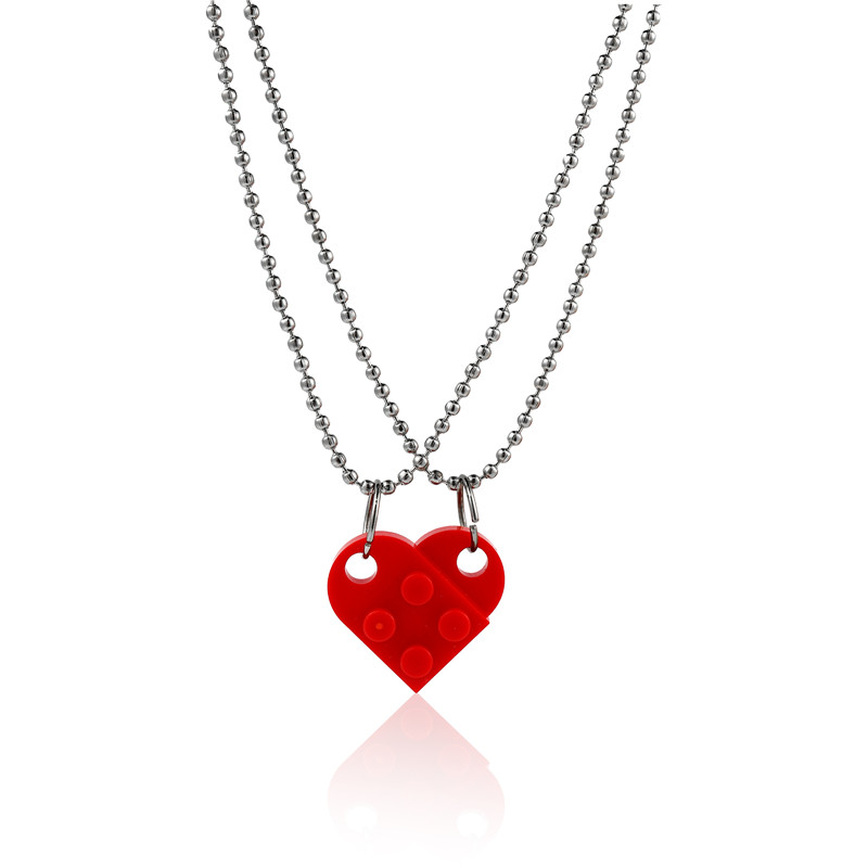 2Pcs Cute Love Heart Brick Lego Pendant Necklace for Couples Friendship Women Men Girl Boy Elements Valentine's Day Jewelry Gift