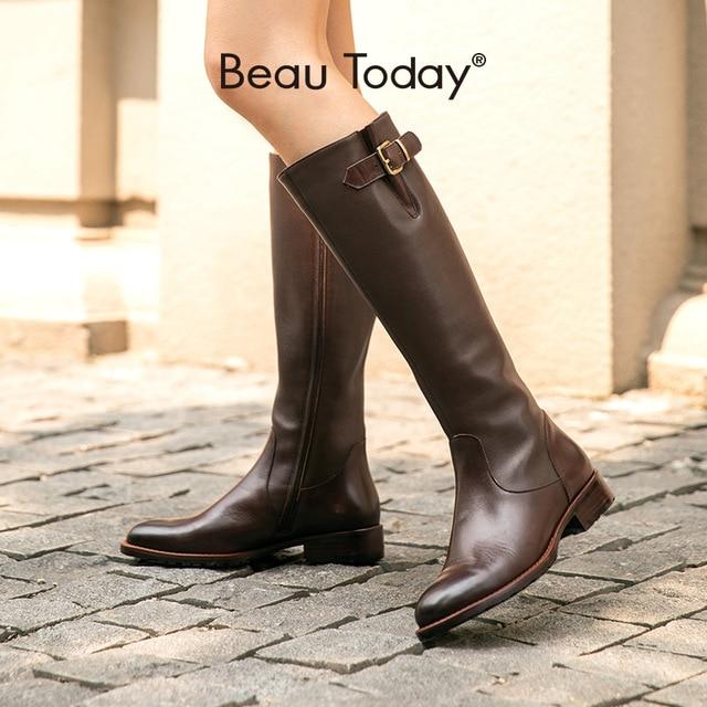Beautoday botas longas mulheres de couro vaca dedo do pé redondo zíper fecho fivela joelho botas altas inverno moda senhora sapatos feitos à mão 01215