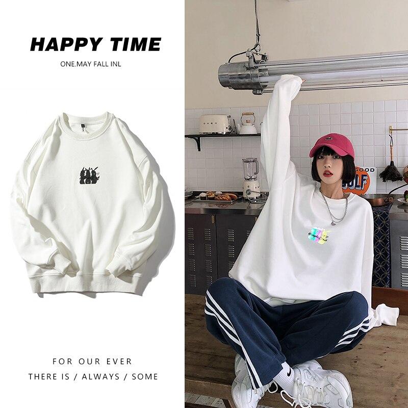 Plus Size Womens Reflective Pattern Sweatshirts and Crewneck Pullovers Korean Fashion Ladies Tops Oversized Hip Hop Streetwear
