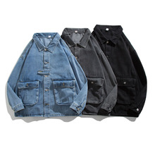 Spring Autumn Denim Jackets Men Grey Blue Black Long Sleeve Loose Coats Casual All Match Vintage Street Tops 2021 Clothing