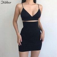 Caucho negro sexy mini falda de cintura alta falda de moda simple oficina fiesta faldas Primavera de 2020 NOVEDAD DE VERANO suave