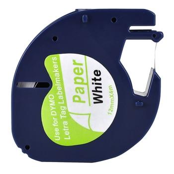 1 Compatible Dymo LetraTag 91200 Black on White (12mm x 4m) Paper Label Tapes for LT-100H, LT-100T, LT-110T, QX 50, XR, XM