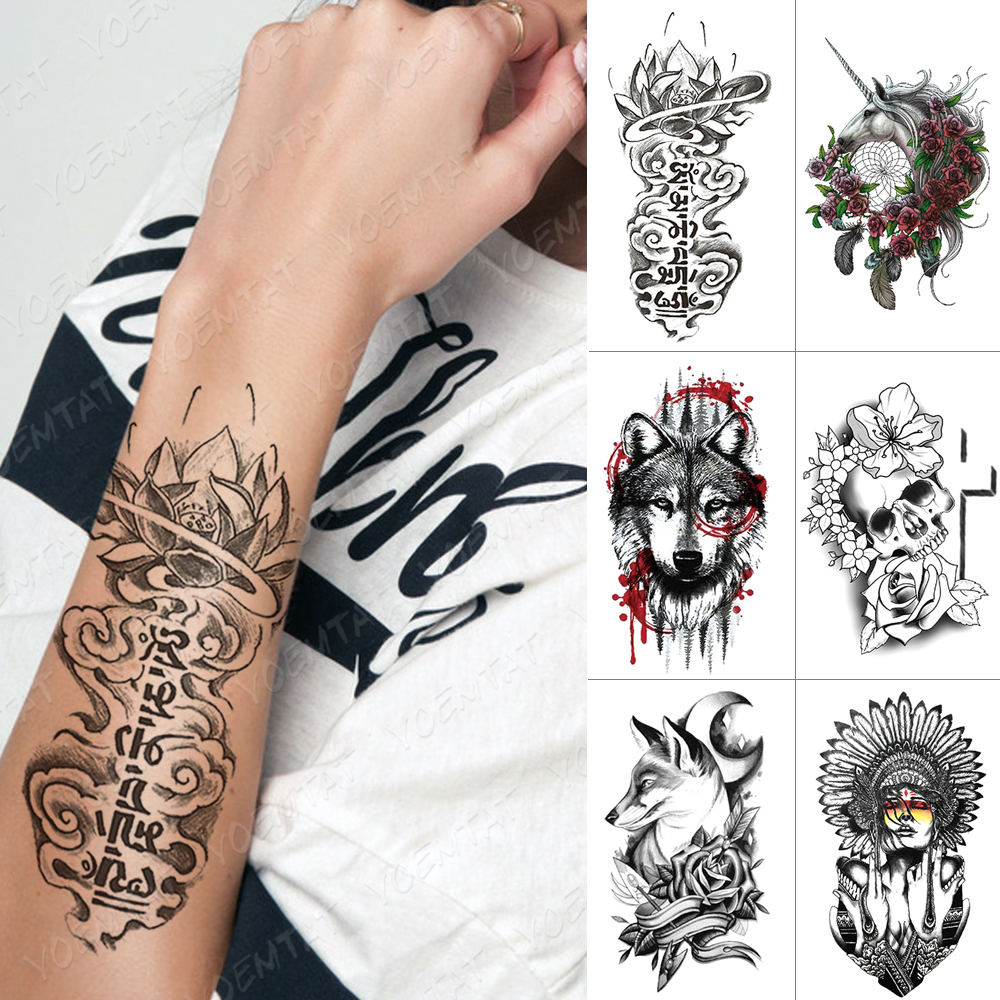 Waterproof Temporary Tattoo Sticker Buddhist Lotus Unicorn Wolf Skull Flash Tattoos Tribal Body Art Arm Fake Tatoo Women Men