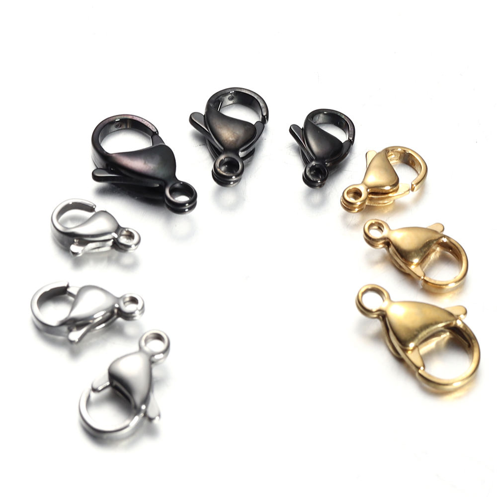 11mm Gold Lobster Clasp Stainless Steel Claw Hook Findings Jewelry Making Supply