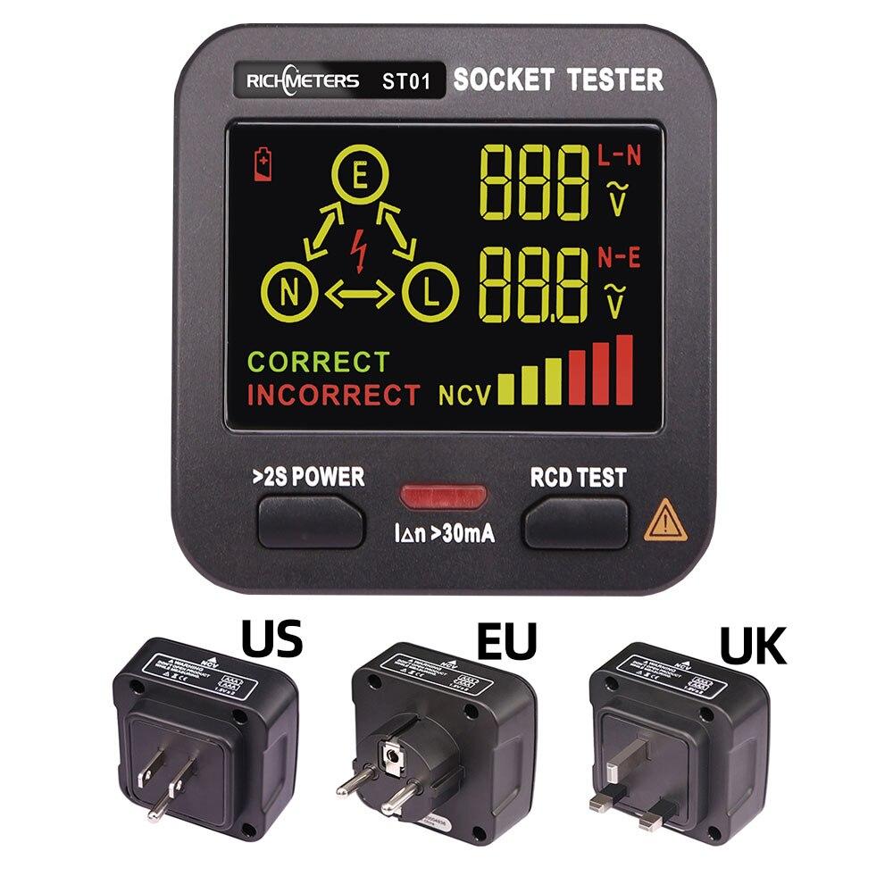 Smart Socket Tester Digital AC Voltage Tester Ground Zero Electric Circuit Detector Line Plug Polarity Phase Pro EU/US/UK GFCI