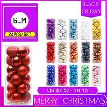 24 шт./лот, цвет 6 см/2,4 дюйма, украшение для рождественской елки, шар, украшения, блестящий шар для украшения дома, украшение для бара и вечеринки