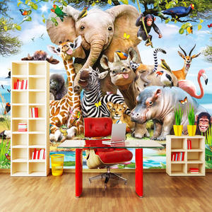 Mural Wallpaper Background Production Trees Animals Seamless Professional Cartoon
