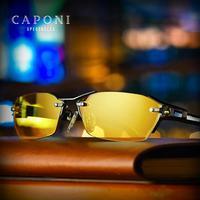 CAPONI Pure Titanium Sunglasses Polarized Photochromic For Driving Day Night Vision Glasses Sun glass Men Brand UV400 BSYS1141