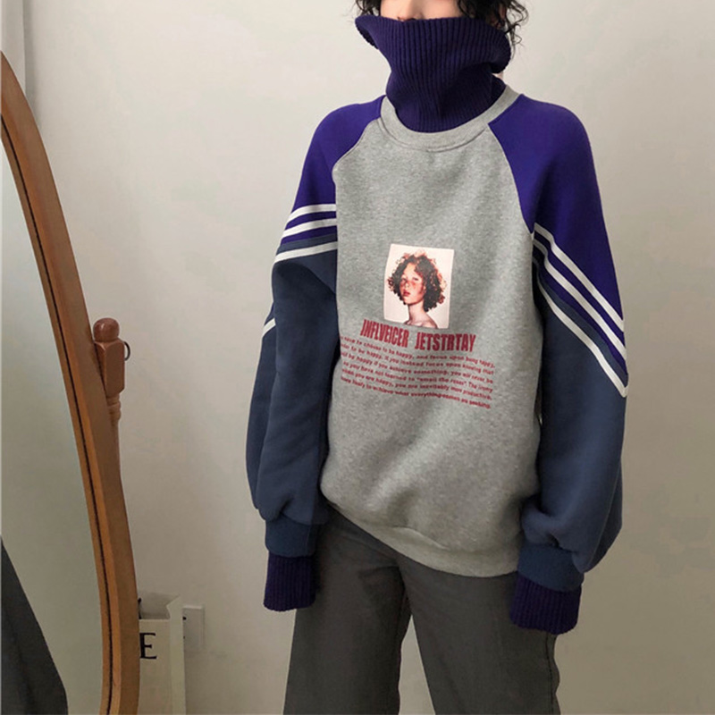 Sweatshirt Turtleneck Pullovers Oversize-Patchwork Women's Hoodies Velvet Harajuku Printed