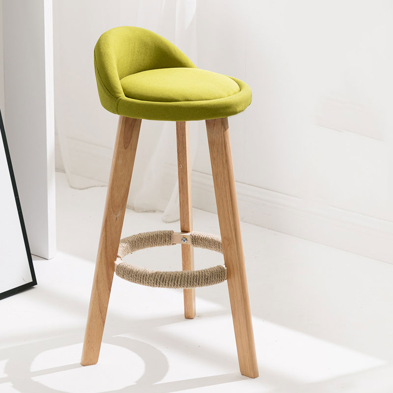 Bar Stool Wooden Chair Leg 70cm Seat Height Oil Wax Leather Fabric Seat Bar Stool Chair