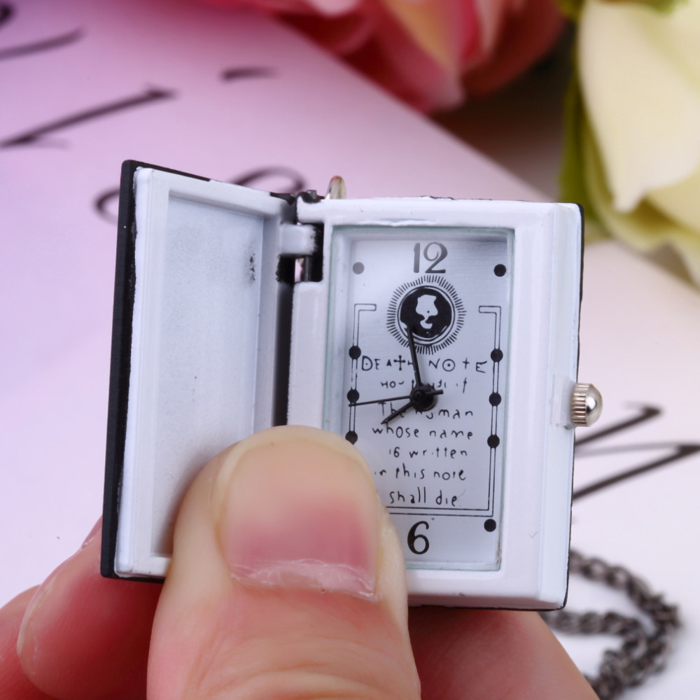 1pc Worldiwde Vintage Unique Death Note Book Quartz Pocket Watch Pendant Necklace Gift Hot Popular Relogio De Bolso