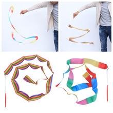 2 Pcs 2M Rhythmic Art Gymnastics Ribbon with Stick Children Dancing Streamers Riband Twirling Rod