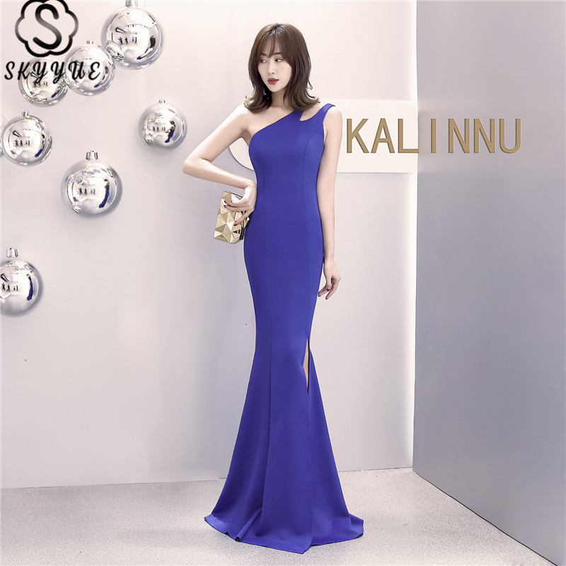 Skyyue Split Eveing Gown One Shoulder Sleeveless Women Party Dresses Floor-Length Elegant Mermaid Robe De Soiree C082