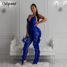 Ruffled Lace Women Jumpsuits Sleeveless Sexy See Through Red Slim High Waist Hollow Out Female Fashion Elegant Party Romper(China)