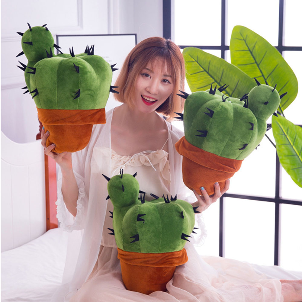 37cm Cute Simulation Cactus Ornaments Soft Stuffed Plush Plant Plush Toy Fairy Ball Doll Doll Family Decoration Gift WJ207