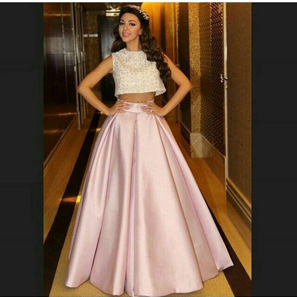 Singer Myriam Fares Pink O Neck Beaded Sleeveless Two Pieces Prom Long Mother Of The Bride Dresses