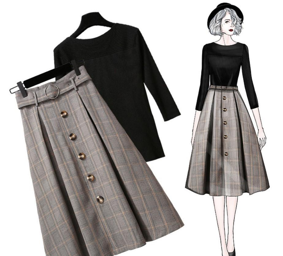ICHOIX 2019 Winter Elegant Ladies Skirt Set Knitted Tops And Plaid Skirt Two Piece Outfit Korean Style Women 2 Piece Set Clothes