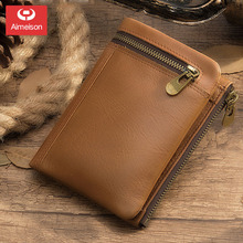 New Short men wallets First layer Cowhide Male bag Genuine Leather Zipper clutch purse Thoroughly twisted mens wallet ASBD009