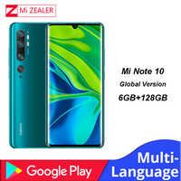 Versión Global Xiaomi mi Note 10 Smartphone 6GB RAM + 128GB ROM 108MP Penta Cámara 5260 mAh batería Snapdragon730G teléfono móvil