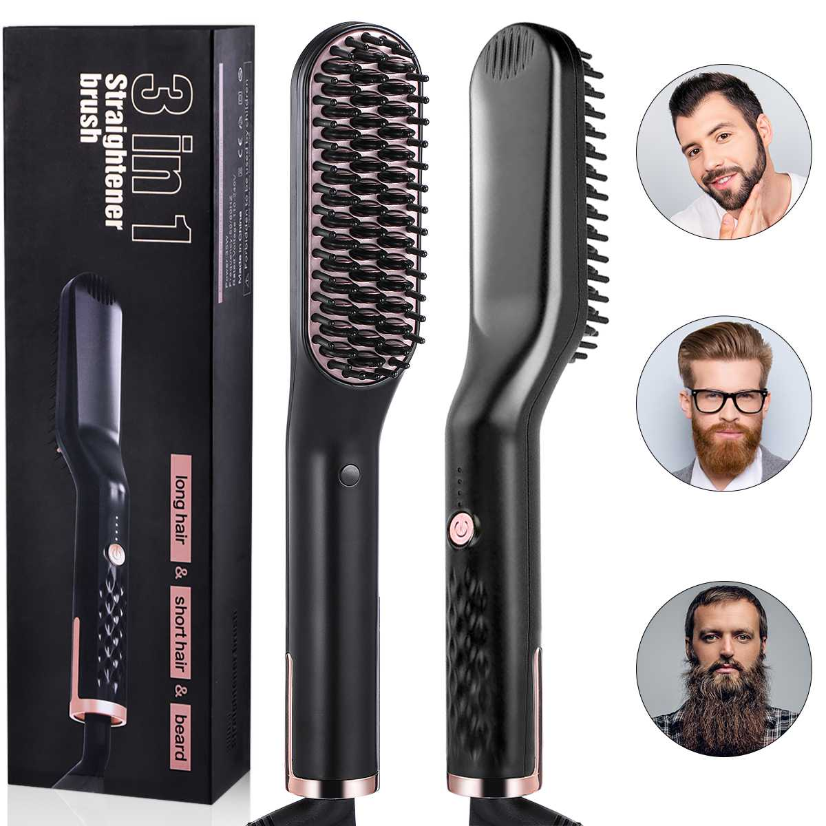Liaboe 3 In 1 Professional Fast Heating Styling Iron Comb For Beard Hair Ceramic Portable Multifunctional Straightener Curler