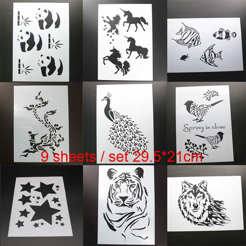 9pc Stencil Bullet Journal Unicorn Animal Painting Template DIY Embossing Craft Accessories Sjablonen For Scrapbooking Decor