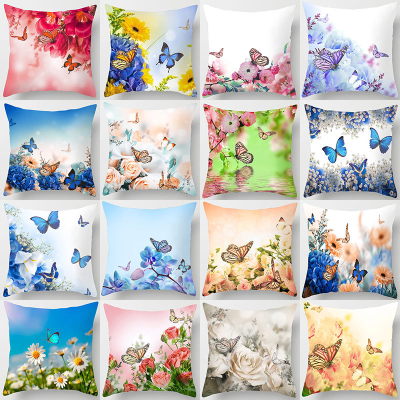 Romantic Butterfly Pillow Covers 45*45cm Throw Pillow Pillowcase Soft Decorative Cushion Cover Flower Printed Pillow Cases