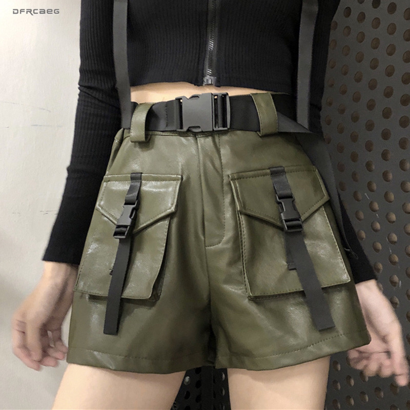 High Waist Wide Leg Cargo PU Shorts Women Vintage 2019 Autumn Winter Streetwear Casual Faux Leather Short With Belt Female