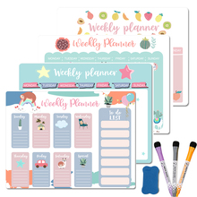 Magnetic Weekly Monthly Planner Calendar Magnets Dry Erase Markers Whiteboard for Notes Message Drawing Meal Fridge Stickers A3