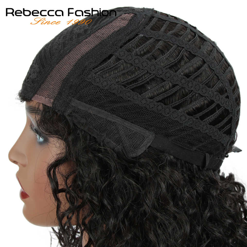 Rebecca Kinky Curly Human Hair Lace Wigs For Black Women L Part Peruvian Remy Hair Natural Wave Lace Wig 2019 Fall New Hairstyle