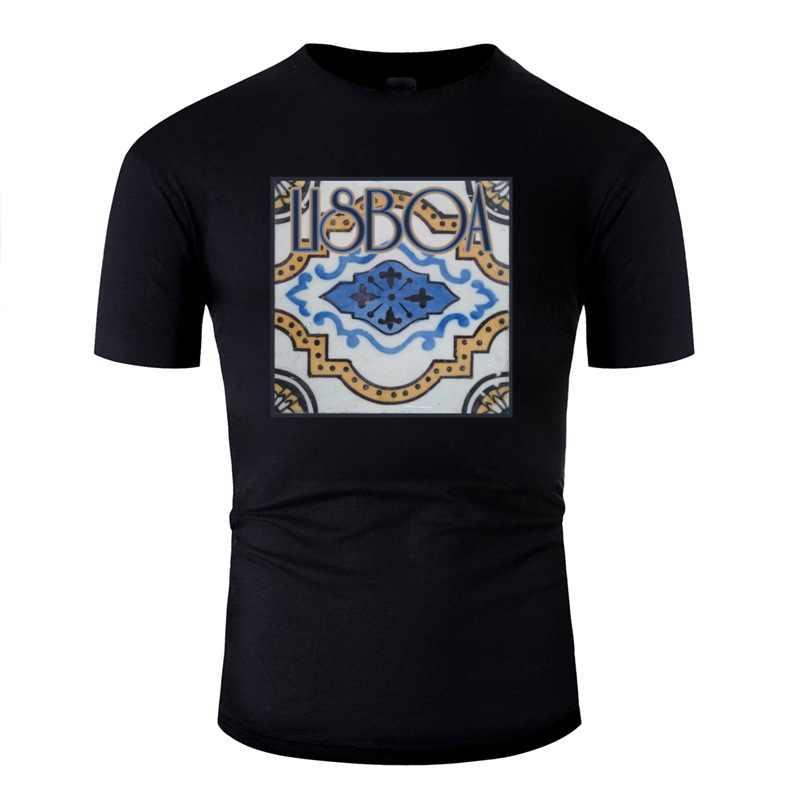 Famosa Cool Lissabon Portugal ventilador presente camiseta algodón negro camiseta ropa gran tamaño 3xl 4xl 5xl camiseta superior