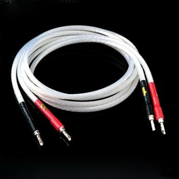 Pair 5N OCC Silver Plated  Hi-end Hifi Speaker Cable banana to banana plug Cable hifi