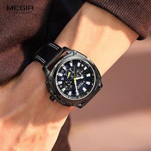 Image 5 - MEGIR מזדמן גברים של Quarzt שעונים חום עור עמיד למים יוקרה ספורט הכרונוגרף שעוני יד Relogio Masculino 2128