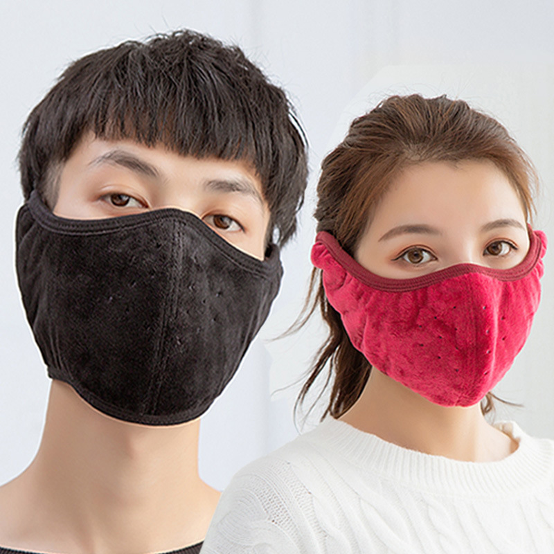 Thicken Breathable Masks Men Women Outdoor Riding Skiing Pure Color Cotton Dustproof 58*14 CM Velcro Design Winter Warm Masks