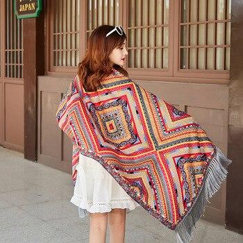 2020 Womens Ethnic Style Print Scarf Shawl Ladies Long Tassel National Wind Scarves Vintage Bohemian Wraps Bufandas Mujer
