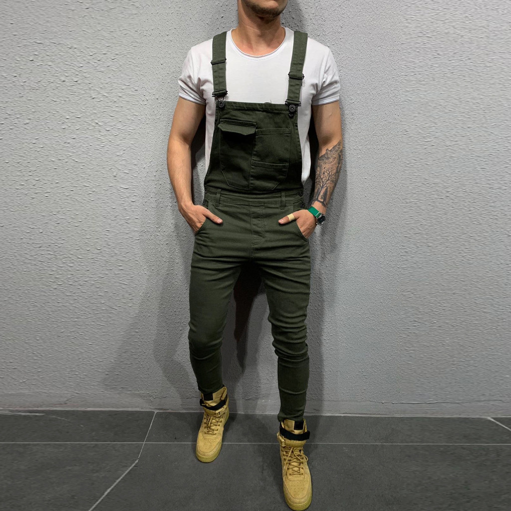 Man's Jeans Mens Fashion Colored Pocket Jeans Overall Casual Denim Jumpsuit Streetwear Straight Overall Suspender Pants L30919