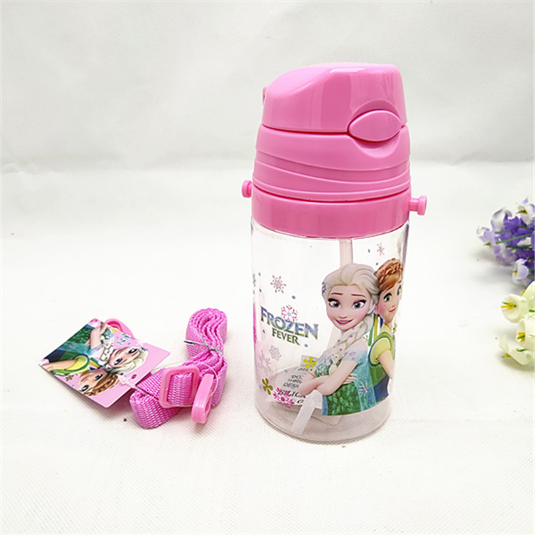Girls Princess Frozen Elsa Anna  Water Cups With Straw Boys Mickey Mouse Cars Student Outdoor Cartoon Cup Kids Drink Cup
