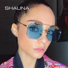 SHAUNA Oversize Women Square Rimless Sunglasses Fashion Men